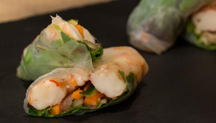 Goi Cuon - Rollitos Vietnamitas con verduras y gambas